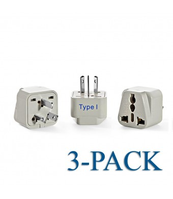 Ceptics Grounded Universal Plug Adapter for Australia, China (Type I) - 3 Pack