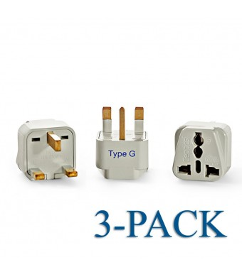 Ceptics Grounded Universal Plug Adapter for UK (Type G) - 3 Pack