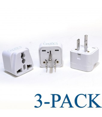 Ceptics Grounded Universal Plug Adapter for US (Type B) - 3 Pack