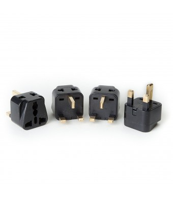 OREI 2 in 1 USA to UK/Hong Kong Adapter Plug (Type G) - 4 Pack, Black