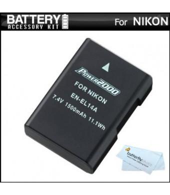 Replacement EN-EL14a, EN-EL14 Ultra High Capacity Li-ion Battery For Nikon D5100, D5200, D3100 and D3200, P7100, P7700 Digital Camera - Fully Decoded