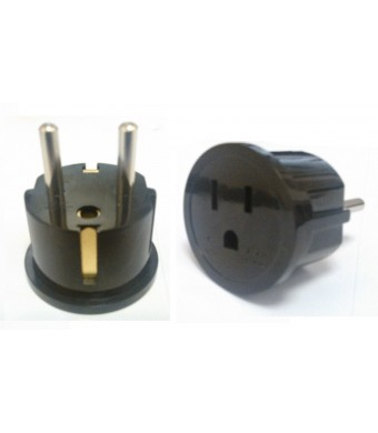 CKITZE BA-4 Grounded European German Schuko Power Plug Adapter Adaptor - American USA to German, France, Russia and more - Excellent Quality - 2 Pack