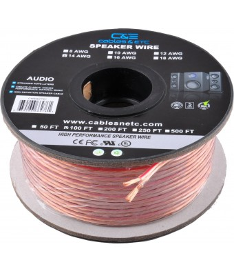 CandE 100 Feet 14AWG Enhanced Loud Oxygen-Free Copper Speaker Wire Cable