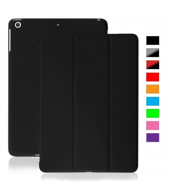 KHOMO iPad Mini / Mini Retina / Mini 3 Case (Released 2014) - DUAL Black Super Slim Cover with Rubberized back and Smart Feature (Built-in magnet for