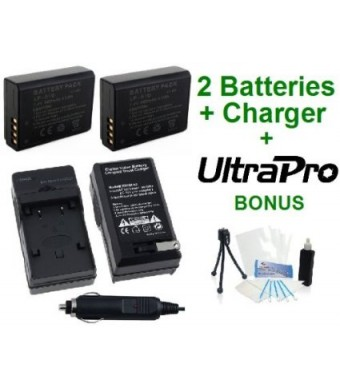 2-Pack Canon LP-E10 High-Capacity Replacement Batteries with Rapid Travel Charger for Canon EOS Digital Rebel T3, EOS 1100D, EOS Kiss X50 Digital Cam