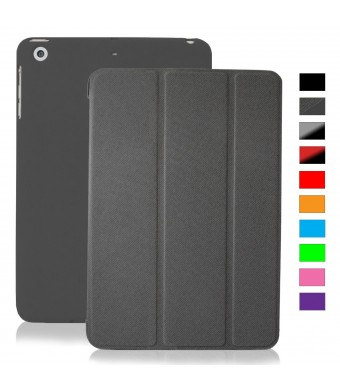 KHOMO iPad Mini / Mini Retina / Mini 3 Case (Released 2014) - DUAL Grey Super Slim Cover with Rubberized back and Smart Feature (Built-in magnet for