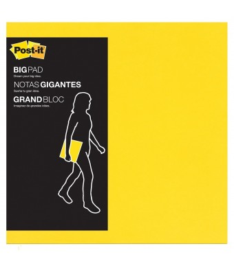 Post-it Big Pad, 11 in x 11 in, Bright Yellow, 30 Sheets/Pad (BP11Y)
