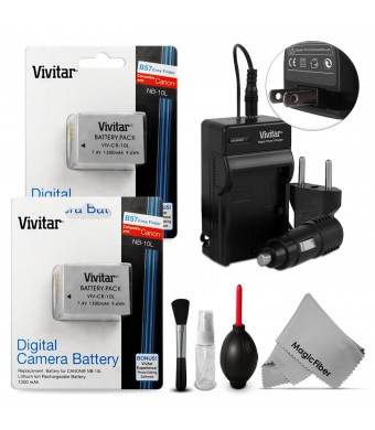 (2 Pack) NB-10L Battery and Charger Kit for CANON PowerShot SX50 HS, SX40 HS, G1X, G16, G15 (Canon NB-10L Replacement) - Includes: 2 Vivitar Ultra Hi