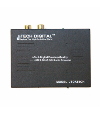 J-Tech Digital  Premium Quality 1080P HDMI To HDMI + Audio (SPDIF + RCA Stereo) Audio Extractor Converter
