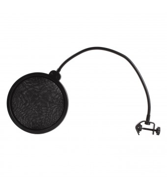 niceEshop(TM) Studio Microphone Mic Wind Screen Pop Filter/ Swivel Mount / Mask Shied For Speaking Recording -Black