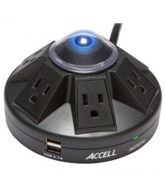 Accell D080B-015K Powramid - 1080 Joules Surge Protector (6 Outlets, 2 USB 2.1A Charging Ports) 6 foot Cord - Black