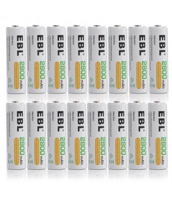 EBL 16 Pack High Capacity 2800mAh AA Ni-MH Rechargeable Batterie, 1500 Cycle
