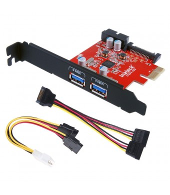 Inateck PCI-E to USB 3.0 2-Port PCI Express Card and 15-Pin Power Connector, Mini PCI-E USB 3.0 Hub Controller Adapter, with Internal USB 3.0 20-PIN