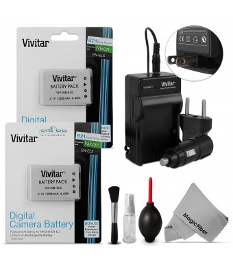 (2 Pack) Vivitar EN-EL5 Battery and Charger Kit for NIKON Coolpix P530, P520, P510, P100, P500, P5100 Cameras - Includes: 2 Vivitar Ultra High Capaci