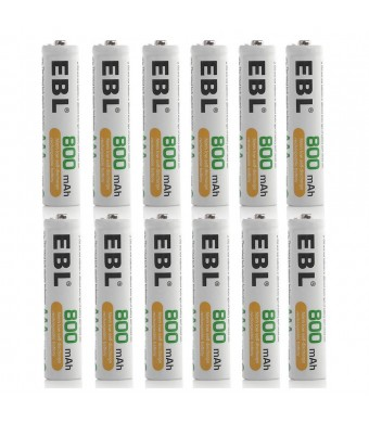 EBL 800mAh Ni-MH Pre-charged Rechargeable AAA Batteries, 12 Pack
