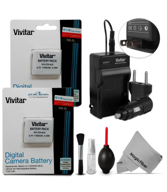 (2 Pack) NB-6L / NB-6LH Battery and Charger Kit for CANON PowerShot SX510 HS, SX500 IS, SX700 HS, SX280 HS, SX260 HS, SX170 IS - Includes: 2 Vivitar