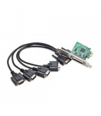 IO Crest 4 Serial Ports PCI-e Controller Card with Fan-Out Cable and Bundled with Low Profile Bracket SI-PEX15038