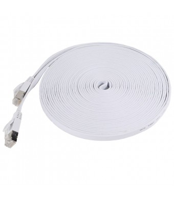 Fosmon Premium Flat Cat7 Ethernet Patch Cable - 25 Feet (White)