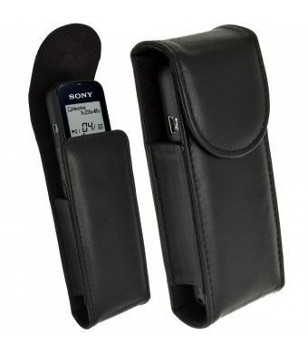iGadgitz Black Genuine Leather Case Cover for Sony ICD-PX312, ICD-PX333 and ICD-PX440 Digital Voice Recorders