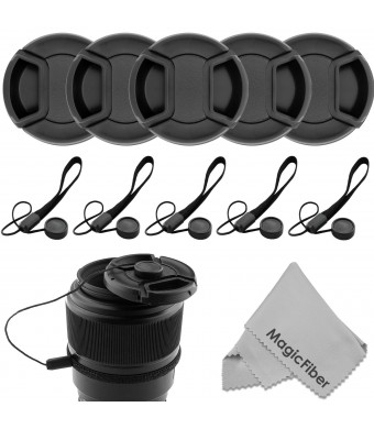 (10 Pcs Bundle) 5 Center Pinch Lens Cap (58mm) and 5 Cap Keeper Leash for Canon, Nikon, Sony and any other DSLR Camera + MagicFiber Microfiber Premiu