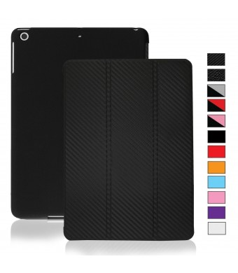 KHOMO iPad Mini / Mini Retina / Mini 3 Case (Released 2014) - DUAL Carbon Fiber Super Slim Cover with Rubberized back and Smart Feature (Built-in mag