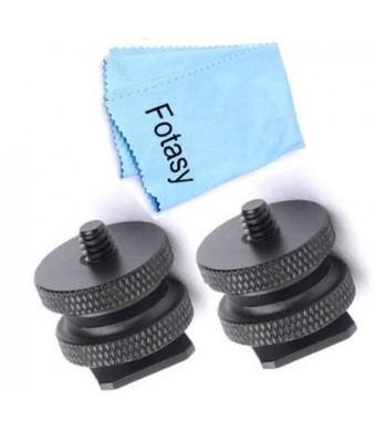 Fotasy SCX2 1/4-Inch 20 Tripod Screw to Hot Shoe Adapter with Premier Cleaning Cloth (Black)