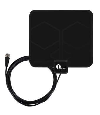HDTV Antenna, 1byone Super Thin Indoor HDTV Antenna - 25 Miles Range, 10ft High Performance Coax Cable, Extreme Soft Design and Lightweight, Made of