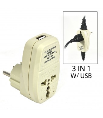 OREI 3 in 1 Schuko Travel Adapter Plug with USB and Surge Protection - Grounded Type E/F - Germany, France and More