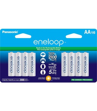 Panasonic BK-3MCCA16BA eneloop AA New 2100 Cycle Ni-MH Pre-Charged Rechargeable Batteries, 16 Pack