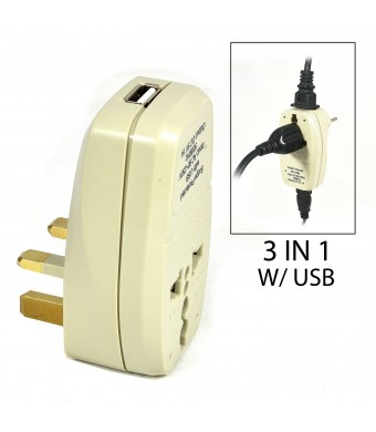 OREI 3 in 1 UK Travel Adapter Plug with USB and Surge Protection - Grounded Type G - Great Britain, Hong Kong, Singapore and More
