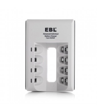 EBL 807 LED Rapid 4 Bay Individual Smart Battery Charger for AA AAA Ni-MH Ni-Cd Rechargeable Batteries