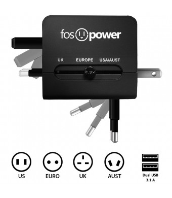 FosPower FUSE World-Wide Universal AC International Adapter Travel Charger with Dual [3.1A] USB Charging Ports (US UK EU AU) - Black