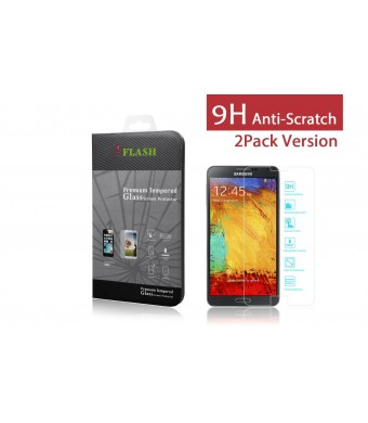 iFlash 2 Pack of Premium Tempered Glass Screen Protector For Samsung Galaxy Note 3 / Note III / N9000 - Protect Your Screen from Scratches and Bubble