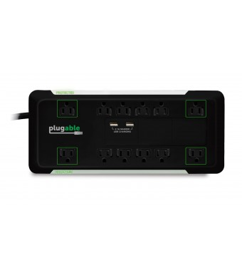 Plugable 12 AC Outlet Surge Protector with Built-In 10.5W 2-Port USB Charger for Apple iPhone and iPad, Samsung Galaxy, Google Nexus, Motorola Droid,