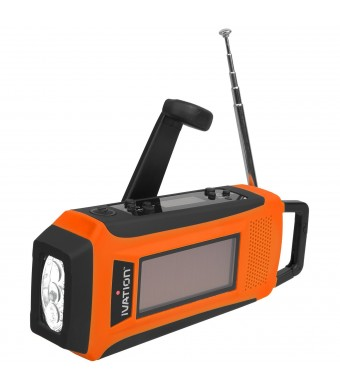 Ivation Rainproof Emergency Digital Solar and Hand Crank AM/FM/NOAA WB Radio, Emergency Smart/Cell phone Charger, Bright 3 LED Flashlight - Compact S