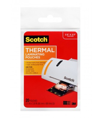 Scotch Thermal Laminating Pouches, Wallet Size, 20 Pouches