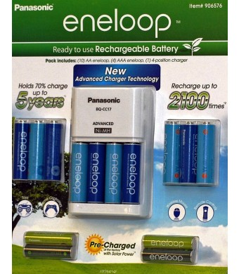 Panasonic Eneloop Kit 10 AA 4 AAA batteries and Charger (906576)