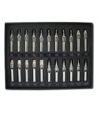 1TattooWorld 22pcs Tattoo Stainless Steel Tips Set, OTW-TK-2.1