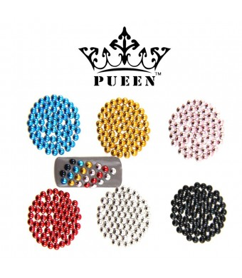 PUEEN 3D Nail Art 600 Pieces 3mm Round Metal Studs in 6 Different Colors for Cellphones and Nails Decorations