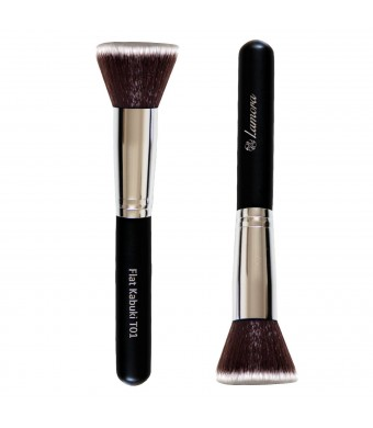 Foundation Brush Flat Top Kabuki for Face Makeup - Perfect For Blending Liquid, Cream or Flawless Powder Cosmetics - Buffing, Stippling, Concealer -