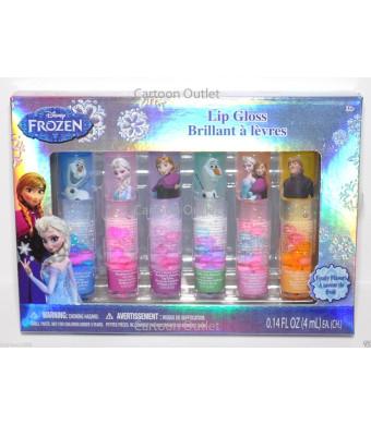 Disney Frozen Anna, Elsa and Olaf Kristoff Lip Gloss (Brillant a levres) 6pcs Set Fruity Flavors Princess