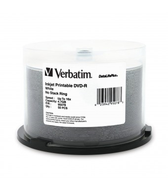 Verbatim 4.7 GB up to 16x DataLifePlus White Inkjet Printable Recordable Disc DVD-R, 50 -Disc Spindle 95078