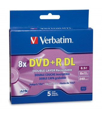 Verbatim DVD+R DL AZO 8.5 GB 8x-10x Branded Double Layer Recordable Disc, 5-Disc Slim Case 95311