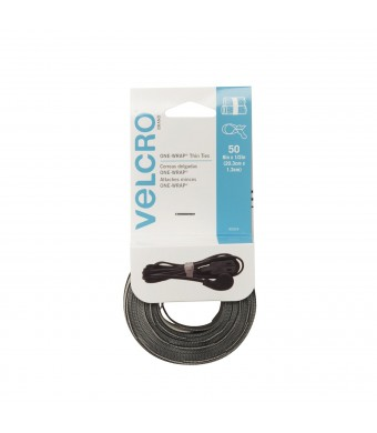 "VELCRO - ONE-WRAP Thin Ties: Reusable, Light Duty - 8""  x 1/2""  Ties, 50 ct. - Black / Gray"