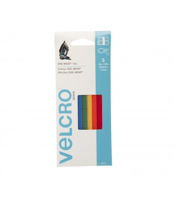 """VELCRO - ONE-WRAP: For Cables, Wires and Cords - 8""""  x 1/2""""  Ties, 5 Ct. - Multi-color"""