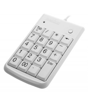 Perixx PERIPAD-201W, Numeric Keypad for Laptop - Compatible with Mac OS X and Windows - Tab Key Feature - Full Size 19 Keys - Big Print Letters - Sil