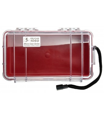 Pelican 1060 Micro Case, Red with Clear Lid