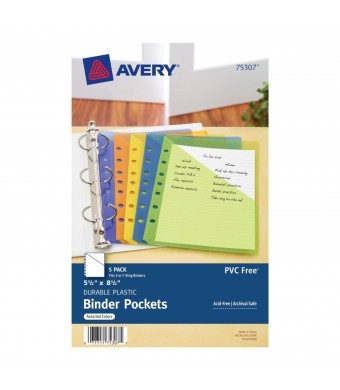 Avery Mini Binder Pockets, Fits 3-Ring and 7-Ring Binders, Assorted, Pack of 5 (75307)