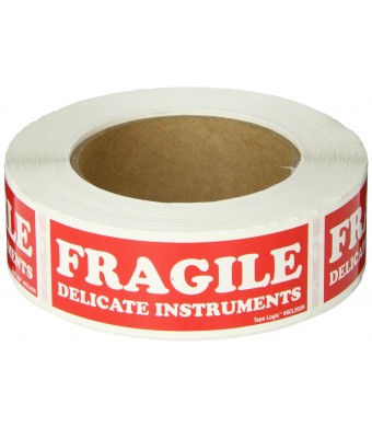 """Tape Logic SCL202R Pressure Sensitive Label, Legend """"FRAGILE DELICATE INSTRUMENTS"""" , 4""""  Length x 1-1/2""""  Width, White on Red (Roll of 500)"""