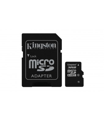Kingston Digital 32 GB microSDHC Class 10 UHS-1 Memory Card 30MB/s with Adapter (SDC10/32GBET)